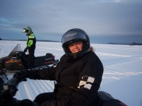 A snowmobile ride at Moosehead