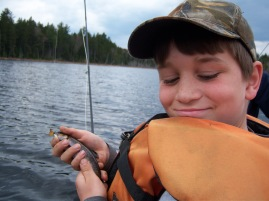 Tyler's first fly rod catch